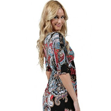 Ingear 3/4 Sleeve Neck Overlap Front Maxi Dress Black Multi-Small