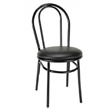 KFI Seating 3210BK Upholstered Cafe Chair with Round Back, Commercial Grade, Black Vinyl, Made in the USA