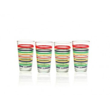 Fiesta Multi-Color Stripe Glassware, 16-Ounce Tapered Cooler, Set of 4