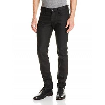 John Varvatos Star USA Men's Bowery Fit V Stitch Pocket Jeans , Jet Black, 28 Regular