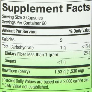Nature's Way Hawthorn Berries , 510 mg., 180  Veg-capsules