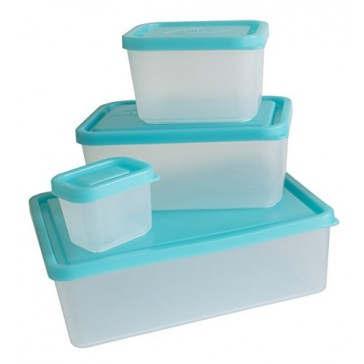 Bentology - Leakproof Portion Control Lunch Containers - No BPA - Set of 4 (Turquoise)