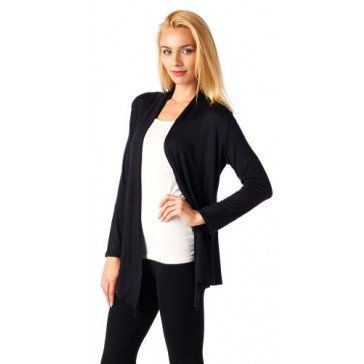Popana Super-Soft Open Front Drape Cardigan - Small Black Made In USA