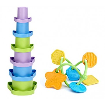 Green Toys Stacking Cups with Twist Teether