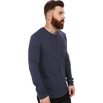 Velvet by Graham & Spencer Men's Ugo Long Sleeve Henley Woven Pocket Slub Jersey Shade T-Shirt SM