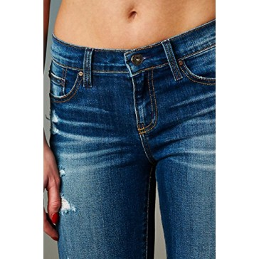 Angry Rabbit Women's Premium Designer's Denim Destressed Skinny Jeans Made in USA (25,Dark Denim)