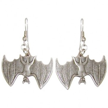 Bat Earrings, Ours Alone! Quality Made in USA!, in Burnished Silver