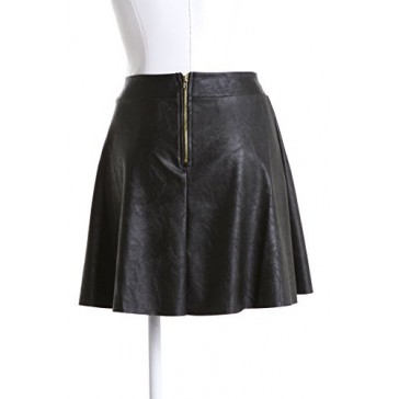 ViV Collection Women's Faux Leather Skater Skirt (Black, Small)