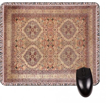 Antique Style Kerman Persian Rug Print Design TM -Square Mouse pad - Stylish, Durable Office Accessory and Gift Made in the USA