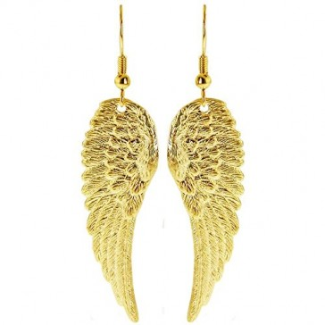 """100% Nickel Free 1 7/8"""" Angel Wing Earrings, Quality Made in USA!, Small Earrings (1-7/8"""") in Gold Tone"""