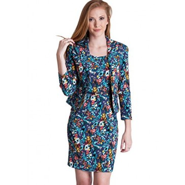 Ladies Blue Floral Print 2 Button Blazer Dress Suit Set
