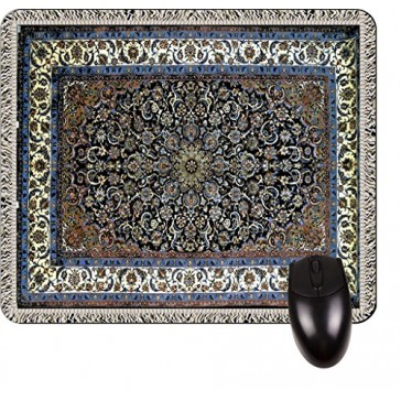 Antique Style Isfahan Persian Rug Print Design TM -Square Mouse pad - Stylish, Durable Office Accessory and Gift Made in the USA