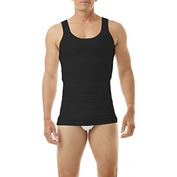 Underworks Mens Compression Body Shirt Girdle Gynecomastia Shirt Small Black
