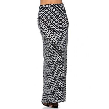 2LUV Women's Mix Print Knit Floor Length Maxi Skirt Black-Diamond S