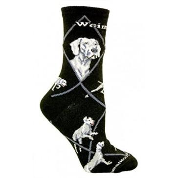 Weimaraner on Black Ultra Lightweight Cotton Crew Socks - Made in USA