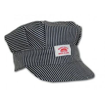 Round House Train Conductor Hickory Striped Engineer Hat - Adult - Made in USA (STRIPE ADLT)
