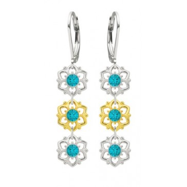 6 Petal Flower Earrings by Lucia Costin Made of .925 Sterling Silver with 24K Yellow Gold over .925 Sterling Silver with Turquoise - Green Swarovski Crystals and Cute Dots; Handmade in USA