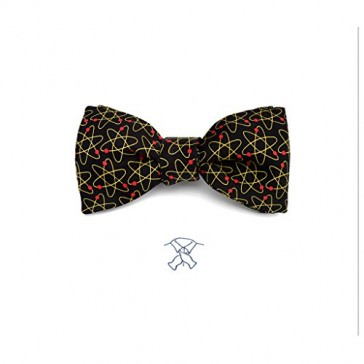 Josh Bach Mens Atoms Molecule Self-Tie Silk Bow Tie in Black, Made in USA