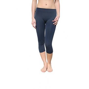 Nikibiki Womens Sexy Smooth Form-Fitting Capri Leggings (Denim)