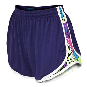 Fit 2 Win Sprinter Purple and Art Deco Print Women's Running Shorts, XS