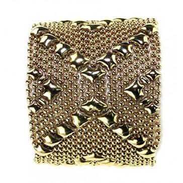 "Antique Gold 24K Bracelet B108-AG SG Liquid Metal by Sergio Gutierrez - 7.5"" size - SG velvet pouch and fine box included"