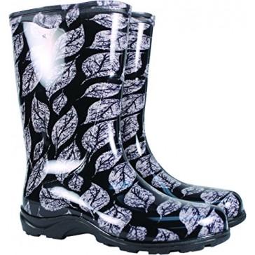 Principle Plastics Sloggers Women's Black Leaf Print Rain & Garden Boots, Size 8