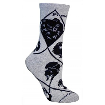 Black Pomeranian on Gray Ultra Lightweight Cotton Crew Socks - Made in USA