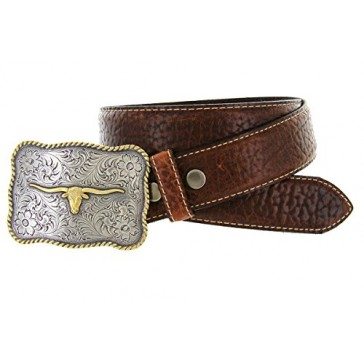 "Made in USA Mens Texas Longhorn Buckle Genuine American Bison Tan Oil-Tanned Thick Leather Casual Western Jean Belt(Tan, 32"")"