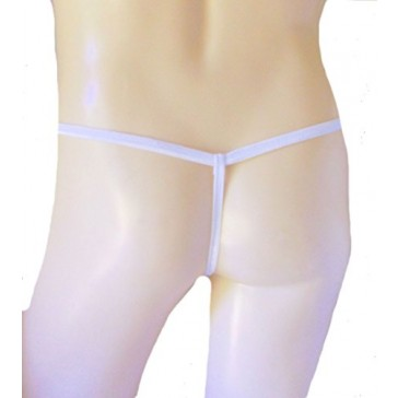 Mens SUPER STRETCHY Stocking Thong Seamless G String Expandable Underwear See Thru SUPER NAKED WHITE Made in USA