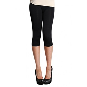 LVG Womens Seamless Capri Leggings Made in USA. Nikibiki Black One Size