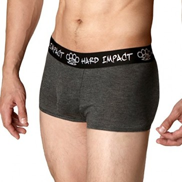 Hard Impact Men's Boxer Briefs (Small, Charcoal Gray)