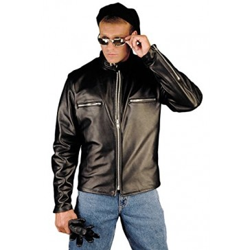 Reed Men's Naked Cow Leather Motorcycle Jacket Made in USA (48 Long, Black)