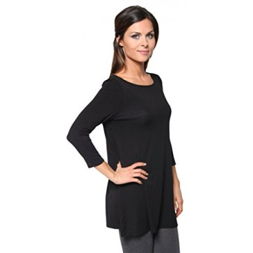 Free to Live Women's Flowy Elbow Sleeve Jersey Tunic Blouse Top Made in USA (Small, Black)