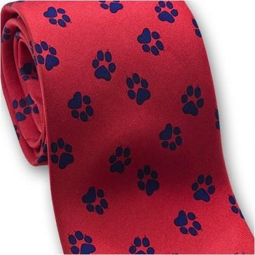 Josh Bach Men's Paw Print - Dog or Cat, Silk Necktie Red, Made in USA