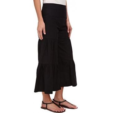 XCVI Women's Cropped Side Tier Palazzo Black Pants XS (Women's 0-2) X 24.5