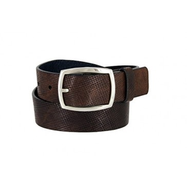 Lejon Men's Italian Brown Leather Casual Jean Belt Made in USA (Brown, 32)