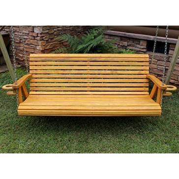 ROLL BACK Amish Heavy Duty 800 Lb 4ft. Porch Swing With Cupholders - Cedar Stain - Made in USA