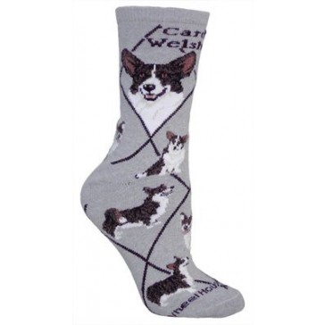 Cardigan Welsh Corgi on Gray Ultra Lightweight Cotton Crew Socks (One Size Fits Most) Made in USA