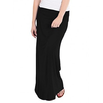 Hybrid & Company - Women's Maxi Skirt W/ Fold Over Waist Band - Made in the USA, Black, 1X Plus