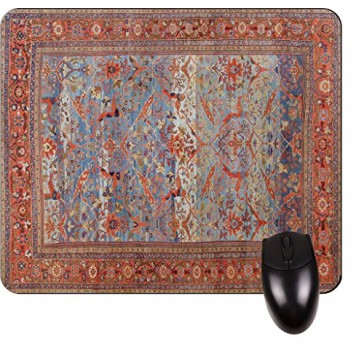 Antique Style Persian Sultanabad Rug with a Blue Field- Print Design TM -Square Mouse pad - Stylish, Durable Office Accessory and Gift Made in the USA