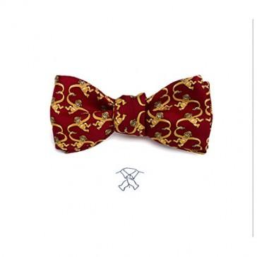 Josh Bach Mens Barrel of Monkeys Self-Tie Silk Bow Tie in Red, Made in USA