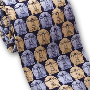 Josh Bach Mens Leonardo da Vinci Vetruvian Man Silk Necktie, Blue Made in USA