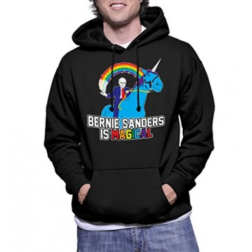 HAASE UNLIMITED Mens Bernie Sanders Is Magical Hoodie Sweatshirt (Small, BLACK)