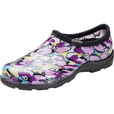 Principle Plastics Sloggers Women's Black Leaf Print Rain & Garden Shoes, Size 6