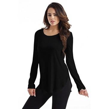 Womens Black T Shirt Round Crew Neck Long Sleeve Womens Tunics Modal Tunic Top