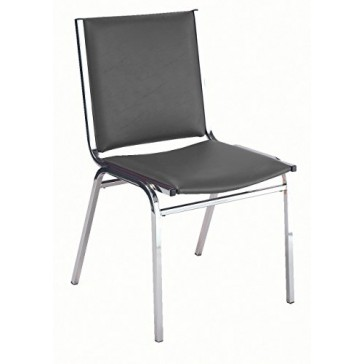 KFI Seating 410 Armless Stacking Chair, Commercial Grade, 1-Inch, Black Vinyl, Made in the USA