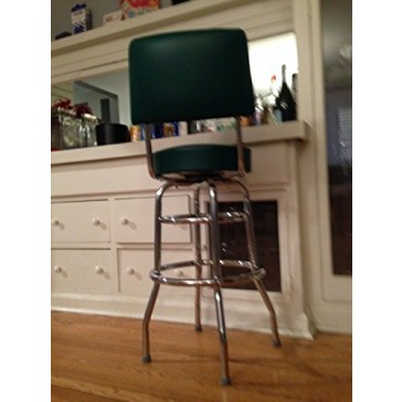 """Budget Bar Stools 1958GRN Double Ring Commercial Bar Stool with Back, 20"""" L x 17"""" W x 41"""" H, Green"""