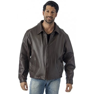 Reed Men's Casual Leather Jacket Union Made in Detroit, USA (2XL, Brown)