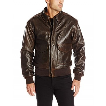 Cockpit USA Men's 100 Mission A-2 Pilot's Lambskin Leather Jacket, Brown, X-Large