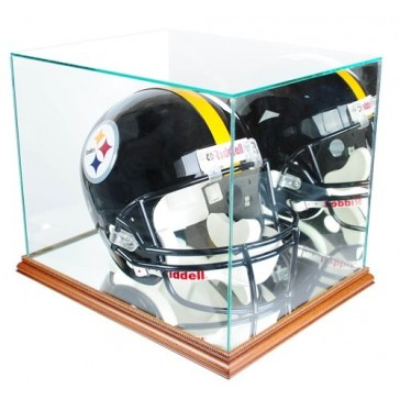Full Size Football Helmet Display Case - Glass Top with Walnut Base - Made In America